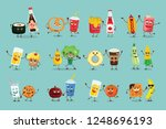 vector color funny food emoji... | Shutterstock .eps vector #1248696193