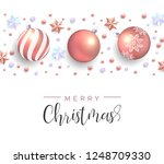 merry christmas card. realistic ... | Shutterstock .eps vector #1248709330
