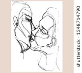 kissing couple. hand drawn... | Shutterstock .eps vector #1248714790