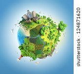 globe concept showing a green ... | Shutterstock . vector #124871620