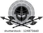 viking helm with crossed axes... | Shutterstock .eps vector #124873660