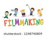 illustration of stickman kids... | Shutterstock .eps vector #1248740809