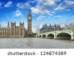 Small photo of London. Beautiful view of Westminster Bridge and Houses of Parliament with Thames river.