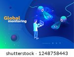 global monitoring. a man with a ... | Shutterstock .eps vector #1248758443