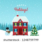 old house in the snow against... | Shutterstock .eps vector #1248759799