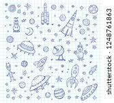 set of cute hand drawn space... | Shutterstock .eps vector #1248761863