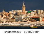 View of Bosphorus and Galata Tower in Istanbul city, Turkey - stock photo