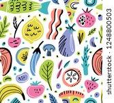 food flat hand drawn seamless... | Shutterstock .eps vector #1248800503