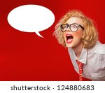 Stock photo facial woman screaming in blank speech isolated on red 124880683