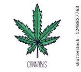 cannabis leaf doodle cartoon... | Shutterstock .eps vector #1248837763
