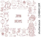 japan cute doodle line... | Shutterstock .eps vector #1248841189