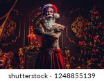 bad santa concept. portrait of...   Shutterstock . vector #1248855139