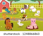 cute baby farm animals with... | Shutterstock .eps vector #1248866863