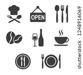 restaurant icons set on white... | Shutterstock .eps vector #1248916069