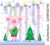vector mascot on gift card ... | Shutterstock .eps vector #1248928750