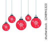 red christmas balls decorations ... | Shutterstock .eps vector #1248941323