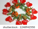 christmas decorations on a...   Shutterstock . vector #1248942550