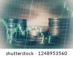double exposure of graph and... | Shutterstock . vector #1248953560