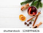 hot red mulled wine in glass... | Shutterstock . vector #1248996826