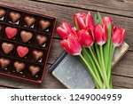 red tulip flowers bouquet and... | Shutterstock . vector #1249004959
