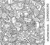 bathroom hand drawn doodles... | Shutterstock .eps vector #1249005190