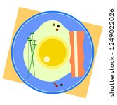 fried egg on blue plate with... | Shutterstock .eps vector #1249022026