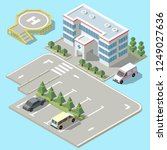 3d isometric hospital with... | Shutterstock . vector #1249027636