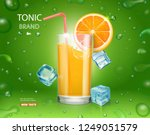 fresh orange and glass with... | Shutterstock .eps vector #1249051579