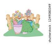 garden bush with flowers | Shutterstock .eps vector #1249080349