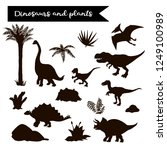 dinosaur black set with plants... | Shutterstock .eps vector #1249100989