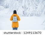woman standing in snowed forest ... | Shutterstock . vector #1249113670