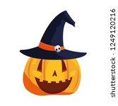 halloween pumpkins and hat... | Shutterstock .eps vector #1249120216