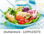 bowl with grilled chicken meat  ...   Shutterstock . vector #1249123273