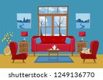 living room in yellow red blue... | Shutterstock .eps vector #1249136770
