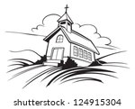 black and white,building,cartoon,chapel,christianity,church,cloud,cross,graphic,icon,icons vector,illustration,illustration vector,landscape,religion