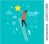 reaching to goal. man standing...   Shutterstock .eps vector #1249171300