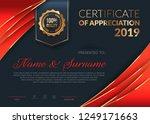 certificate of appreciation... | Shutterstock .eps vector #1249171663