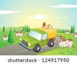 illustration of cows and a... | Shutterstock .eps vector #124917950