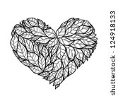 doodle hearts made of leaves. | Shutterstock .eps vector #124918133