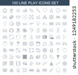 play icons. set of 100 line...   Shutterstock .eps vector #1249182253
