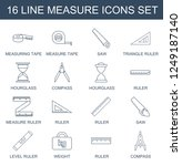 measure icons. set of 16 line... | Shutterstock .eps vector #1249187140