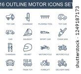 motor icons. set of 16 outline... | Shutterstock .eps vector #1249187173