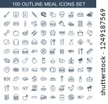 meal icons. set of 100 outline... | Shutterstock .eps vector #1249187569