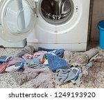 very old washing machine and... | Shutterstock . vector #1249193920