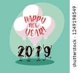 happy new year 2019 kawaii... | Shutterstock .eps vector #1249198549