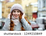 closeup portrait of pleased red ... | Shutterstock . vector #1249210849