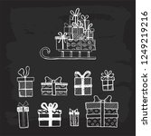 hand drawn set of simple gift... | Shutterstock .eps vector #1249219216