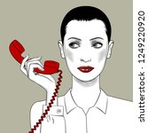 woman with a red retro phone in ... | Shutterstock . vector #1249220920