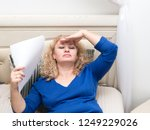 a woman feels bad because of... | Shutterstock . vector #1249229026