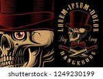 vector illustration of a skull... | Shutterstock .eps vector #1249230199